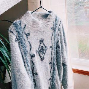 Beaded silk fuzzy vintage hippie sweater